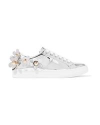 silberne verzierte Leder niedrige Sneakers von Marc Jacobs