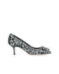silberne verzierte Leder Pumps von Dolce & Gabbana