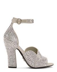 silberne verzierte Leder Sandaletten von Prada