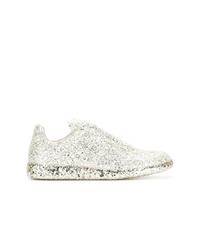 silberne verzierte niedrige Sneakers von Maison Margiela