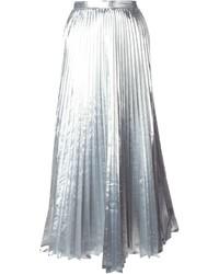silberner Falten Midirock von DKNY