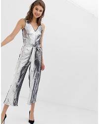 silberner Jumpsuit aus Pailletten von Warehouse