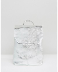 silberner Leder Rucksack von Asos