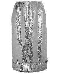 silberner Pailletten Bleistiftrock von Altuzarra