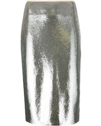 silberner Pailletten Bleistiftrock von Diane von Furstenberg