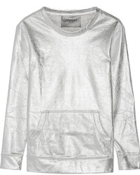 silberner Pullover mit einem Rundhalsausschnitt