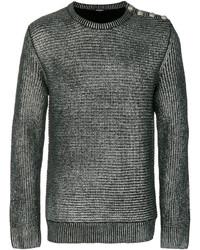 silberner Pullover mit einem Rundhalsausschnitt von Balmain