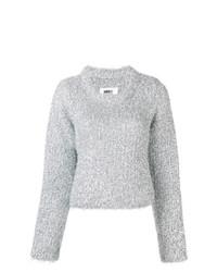 silberner Pullover mit einem Rundhalsausschnitt von MM6 MAISON MARGIELA