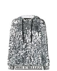 silberner Pullover mit einer Kapuze von Dolce & Gabbana