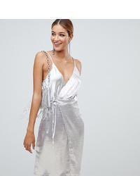 silbernes Camisole-Kleid aus Satin von Boohoo