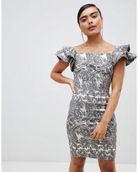 silbernes figurbetontes Kleid mit Blumenmuster von Vesper