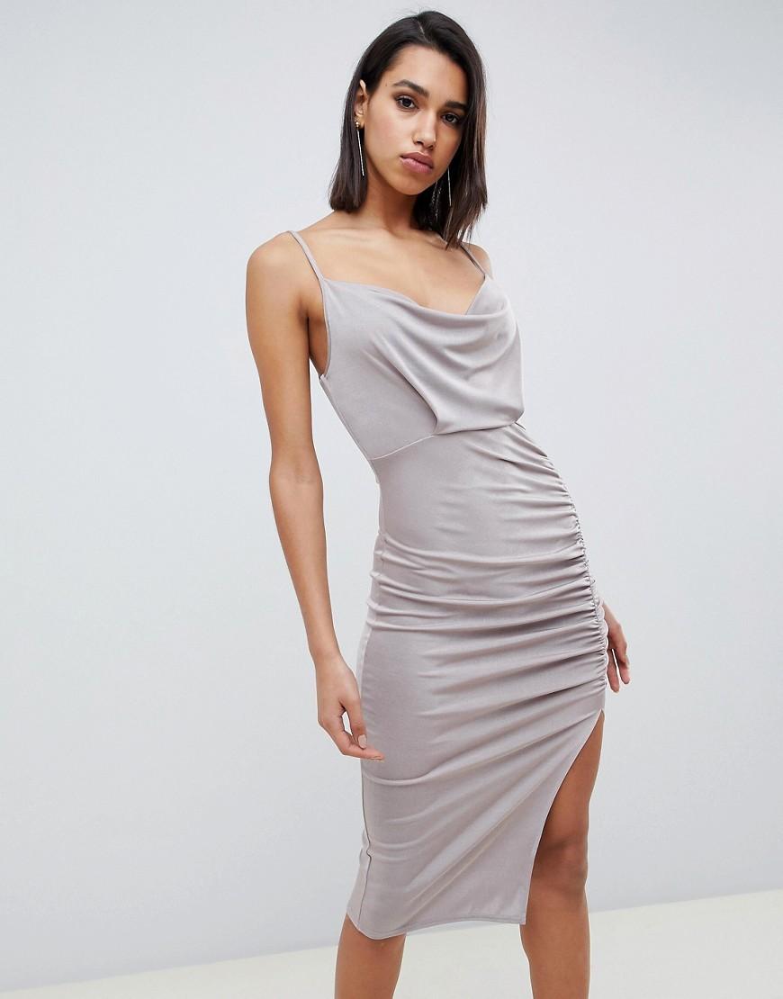 silbernes figurbetontes Kleid von ASOS DESIGN