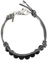 silbernes geflochtenes verziert mit Perlen Armband von Emanuele Bicocchi