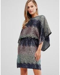 silbernes gerade geschnittenes Kleid aus Paillette von Flounce London