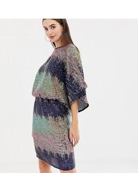 silbernes gerade geschnittenes Kleid aus Paillette von Flounce London Tall