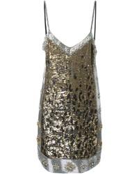 silbernes gerade geschnittenes Kleid mit Leopardenmuster