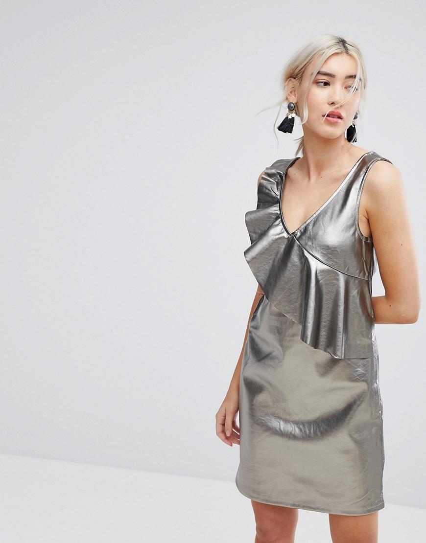 silbernes gerade geschnittenes Kleid von Vila