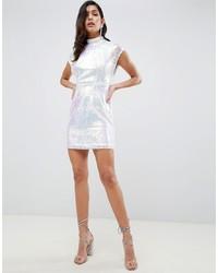 silbernes Paillette figurbetontes Kleid von ASOS DESIGN