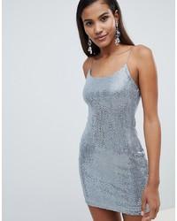 silbernes Paillette figurbetontes Kleid von Miss Selfridge