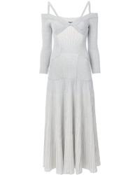 silbernes Strick schulterfreies Kleid von Alexander McQueen