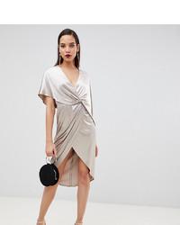 silbernes Wickelkleid aus Samt von Asos Tall