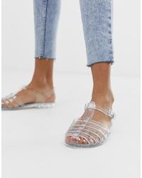 transparente Gummi flache Sandalen von Glamorous