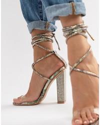 transparente verzierte Leder Sandaletten
