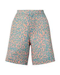 türkise Bermuda-Shorts mit Leopardenmuster von Double Rainbouu