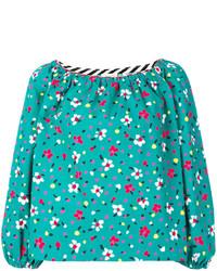 türkise bestickte Seide Bluse von Marc Jacobs