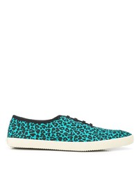 türkise niedrige Sneakers mit Leopardenmuster von Saint Laurent