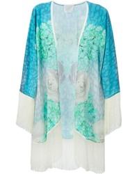 türkiser Kimono mit Blumenmuster von Athena