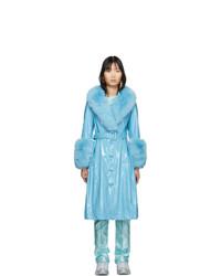 türkiser Mantel mit einem Pelzkragen von Saks Potts