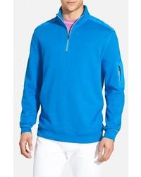 türkiser Pullover mit einem Reißverschluss am Kragen