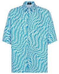 türkises bedrucktes Kurzarmhemd von Fendi