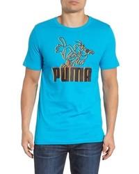 türkises bedrucktes T-Shirt mit einem Rundhalsausschnitt