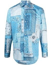 türkises Langarmhemd mit Paisley-Muster