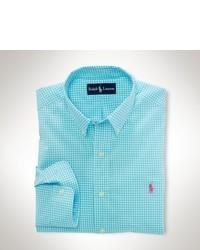 türkises Langarmhemd mit Vichy-Muster