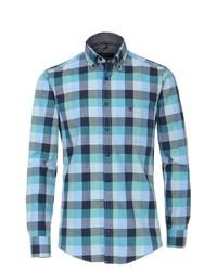 türkises Langarmhemd mit Vichy-Muster von Casamoda