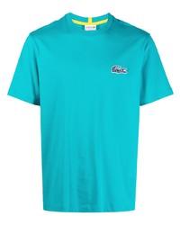 türkises T-Shirt mit einem Rundhalsausschnitt von Lacoste