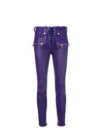 violette enge Hose aus Leder von Unravel Project