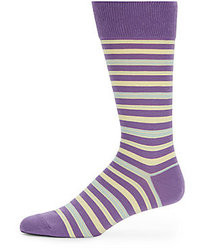 violette horizontal gestreifte Socke