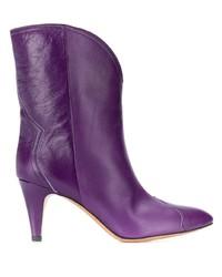 violette Leder mittelalte Stiefel von Isabel Marant