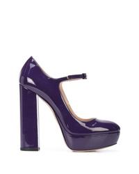 violette Leder Pumps von Miu Miu