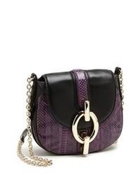 violette Leder Umhängetasche