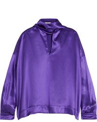 violette Satin Bluse von Balenciaga