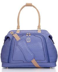 violette Shopper Tasche aus Leder