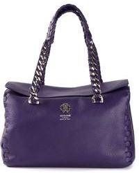 violette Shopper Tasche aus Leder von Roberto Cavalli
