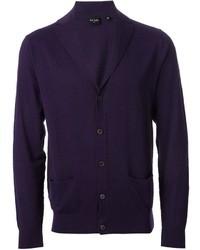 violette Strickjacke mit einem Schalkragen von Paul Smith