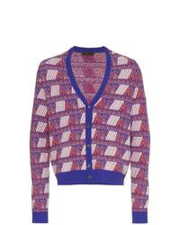 violette Strickjacke mit geometrischem Muster von Prada