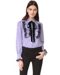 violette vertikal gestreifte Bluse von Marc Jacobs